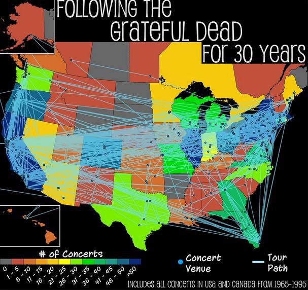 Grateful Dead Tours By Year