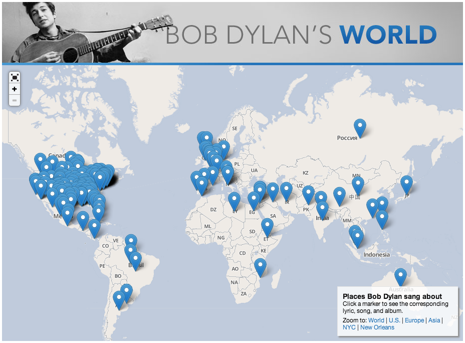Interactive Google Maps Mashup - Places Mentioned In Bob Dylan Lyrics