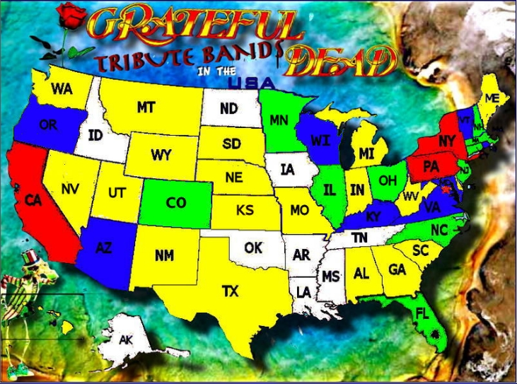the site is gratefuldeadtributebands com and their home page provides a nice us map color coded by the number of dead bands they have identified as being