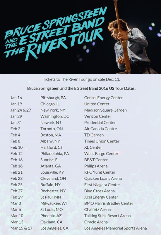 Bruce Springsteen & E Street Band To Play United Center on The River Tour 1/19/16