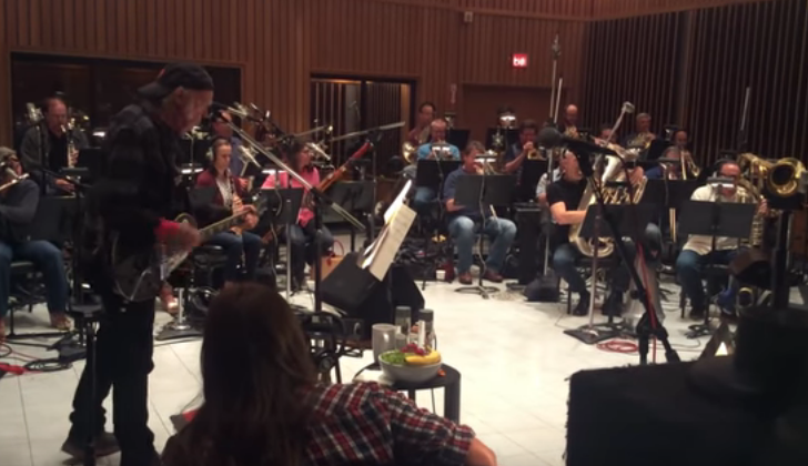 Watch Neil Young Record His New Single With A 56-Piece Orchestra