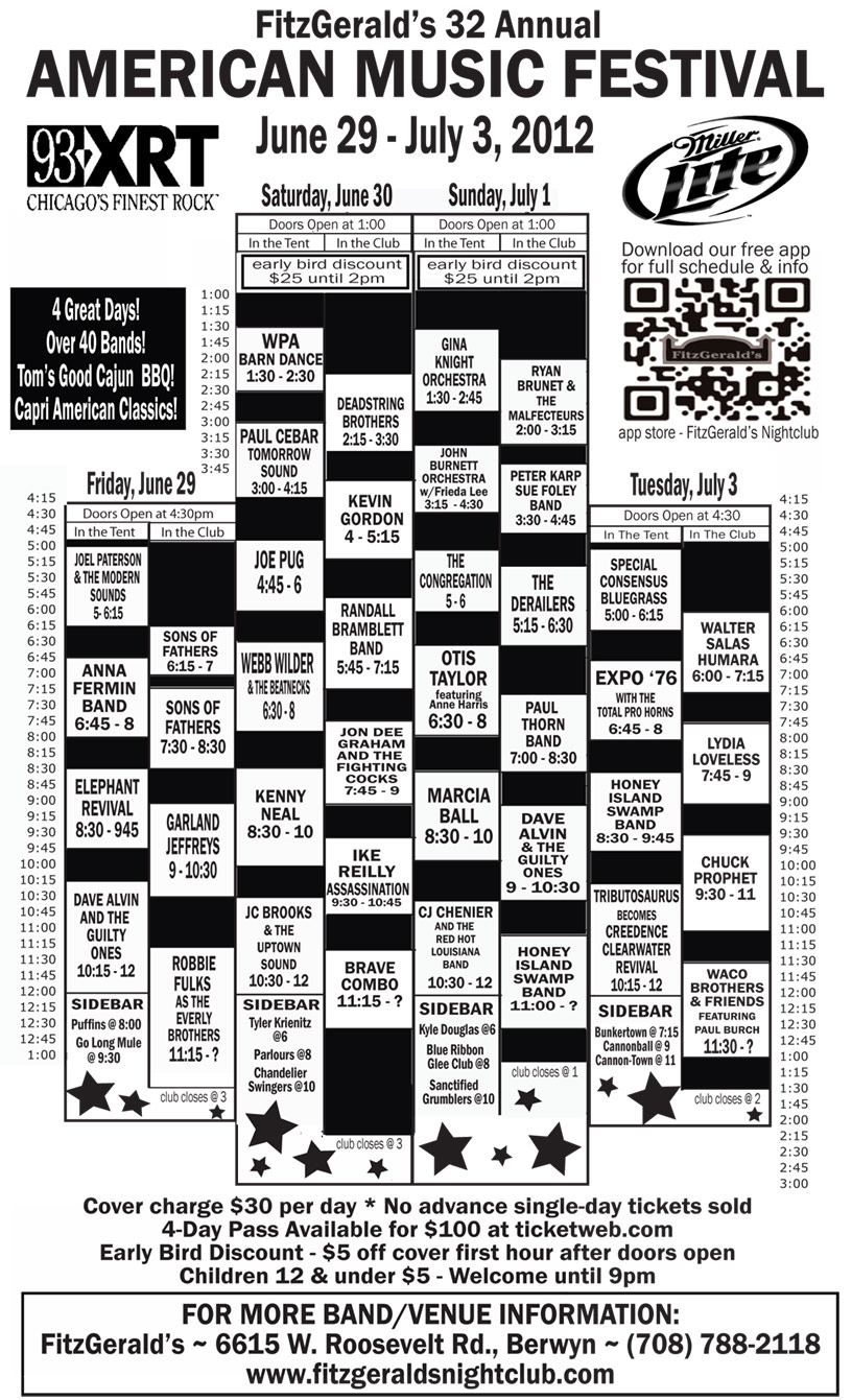 Fitzgerald's American Music Festival 2012 Schedule Grid & Best Bets